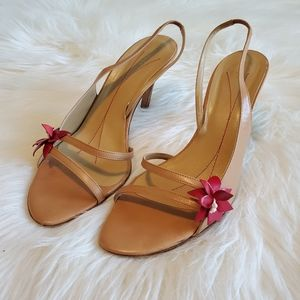 Kate Spade Tan Strappy Slingback Red Flower Heels
